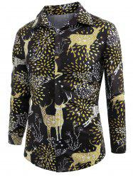Elk Print Christmas Long Sleeve Shirt -
