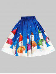 Plus Size Christmas Snowman Print Skirt -