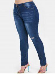 Five Pocket Plus Size Skinny Ripped Jeans -