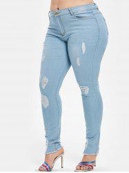 Distressed Light Wash Plus Size Skinny Jeans -