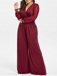 Plus Size High Waisted Surplice Jumpsuit with Rivets -