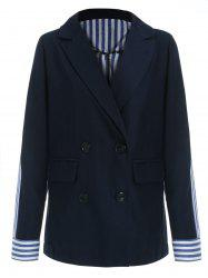 Double Breasted Striped Panel Blazer -