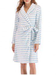 Belted Striped Fluffy Pajama Robe -