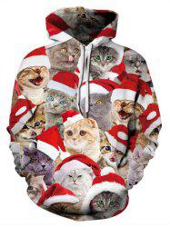Christmas Cats Printed Casual Pullover Hoodie -