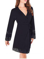 Lace Trim Belted Sleeping Robe -