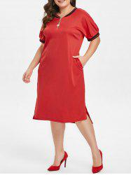 Half Zip Embellished Plus Size Short Sleeve Shift Dress -
