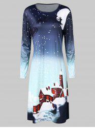Christmas Moonlight Print Swing Dress -