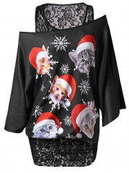 Christmas Plus Size Lace Panel Printed Tunic T-shirt -