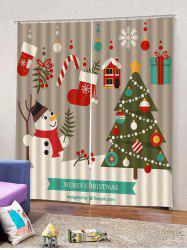 Christmas Theme Patterns Window Curtains -