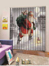 Snowy Taking Gifts Santa Christmas Print Window Curtains -
