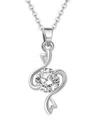 Rhinestoned Heart Design Pendant Clavicle Necklace -