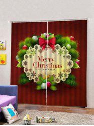 2 Panels Merry Christmas Pattern Window Curtains -