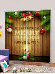 Baubles Letters Christmas Print Window Curtains -