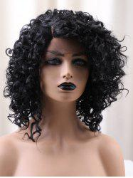 Short Side Bang Fluffy Kinky Curly Synthetic Lace Front Wig -