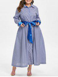 Plus Size Long Sleeves Plaid Shirt Dress -