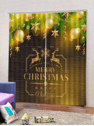 Star Baubles Christmas Letters Print Window Curtains -