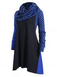 Plus Size Striped Panel Asymmetrical Dress with Scarf -