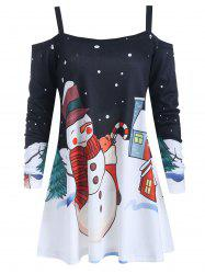 Cold Shoulder Christmas Snowman Print Blouse -