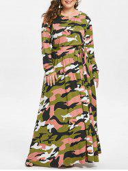 Round Neck Plus Size Camouflage Print Maxi Dress -