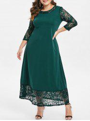 Round Neck Plus Size Lace Panel Maxi Dress -