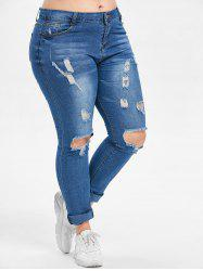 Plus Size Zipper Fly Jeans with Holes -