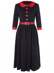 Half Button Peter Pan Collar Belted Dress -