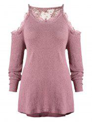 Plus Size Lace Trim Open Shoulder Knitwear -