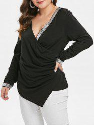 Plus Size Sequins Ruched Plunging Tee -