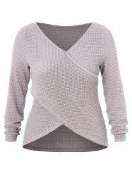 Plus Size Criss Cross High Low Wrap Sweater -