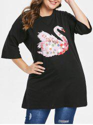 Plus Size Graphic Tunic Tee with Sequins -