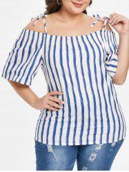 Spaghetti Strap Plus Size Striped Shirt -