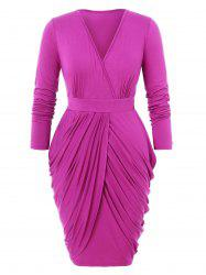 Plus Size Draped Design Wrap Tulip Dress -