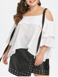Plus Size Cold Shoulder Flounce Contrast Blouse -