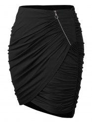 Plus Size Zipper Asymmetrical Ruched Skirt -