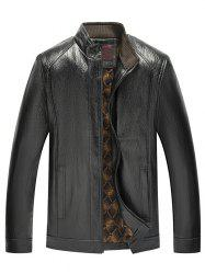 Stand Collar Zip Fly PU Leather Jacket -