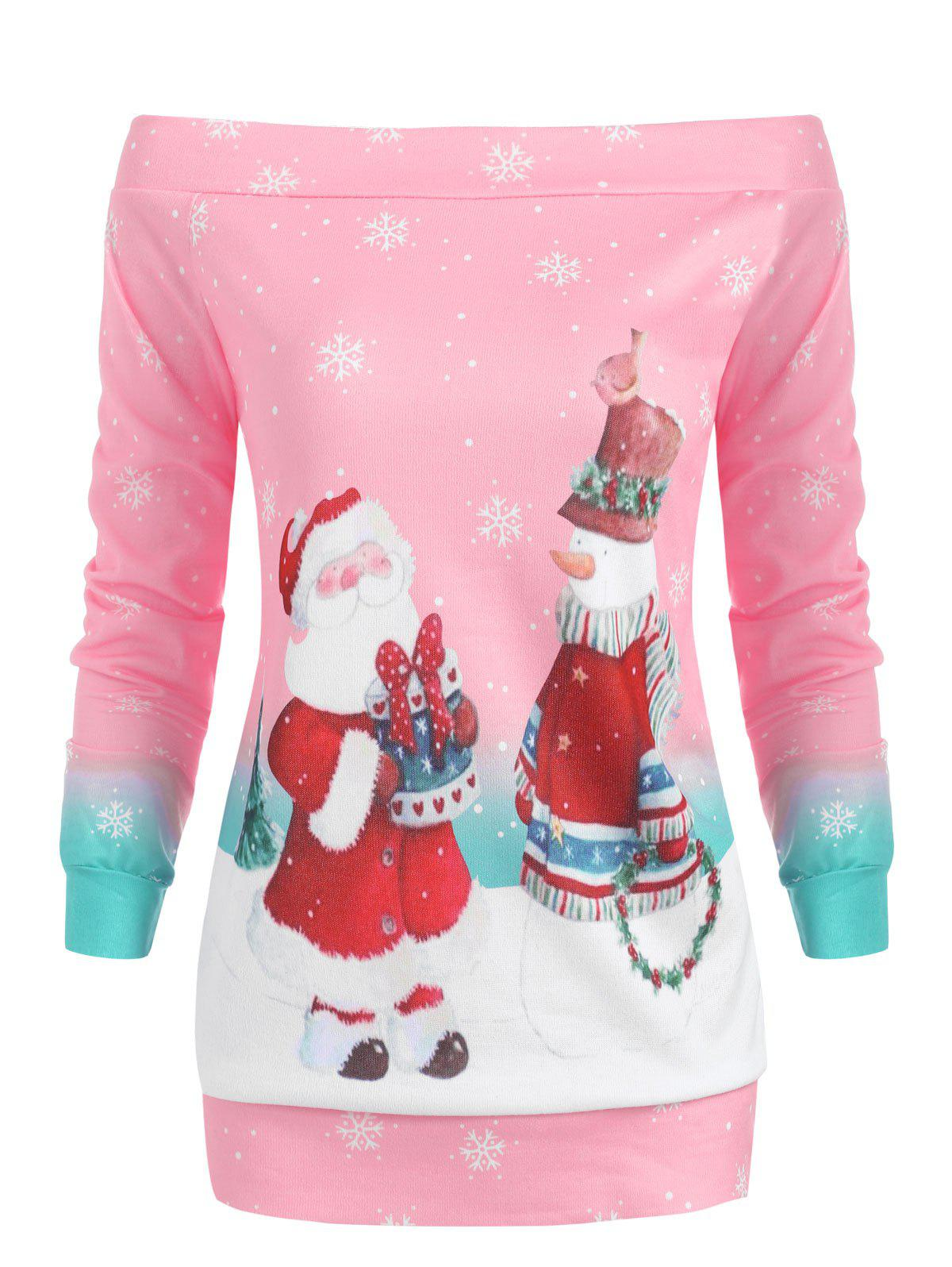 Chic Off The Shoulder Christmas Santa Print Top