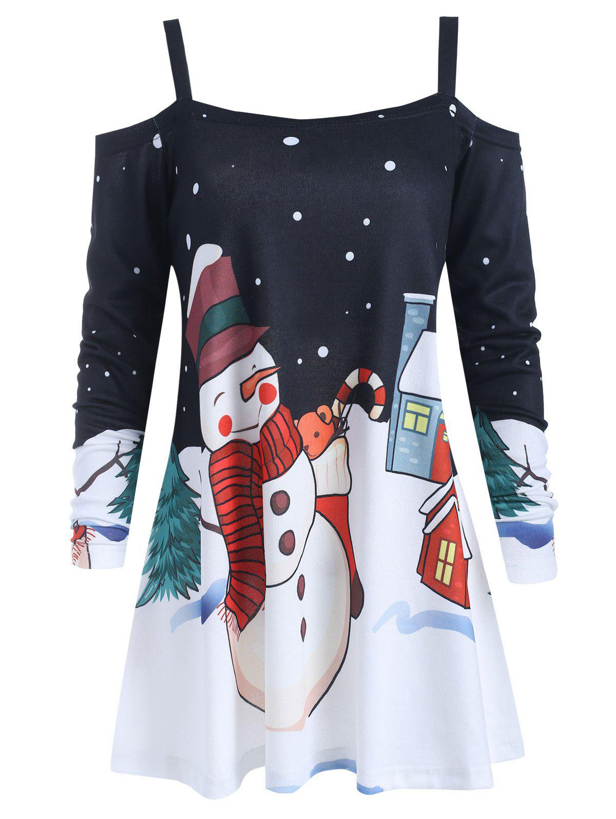 Latest Cold Shoulder Christmas Snowman Print Blouse