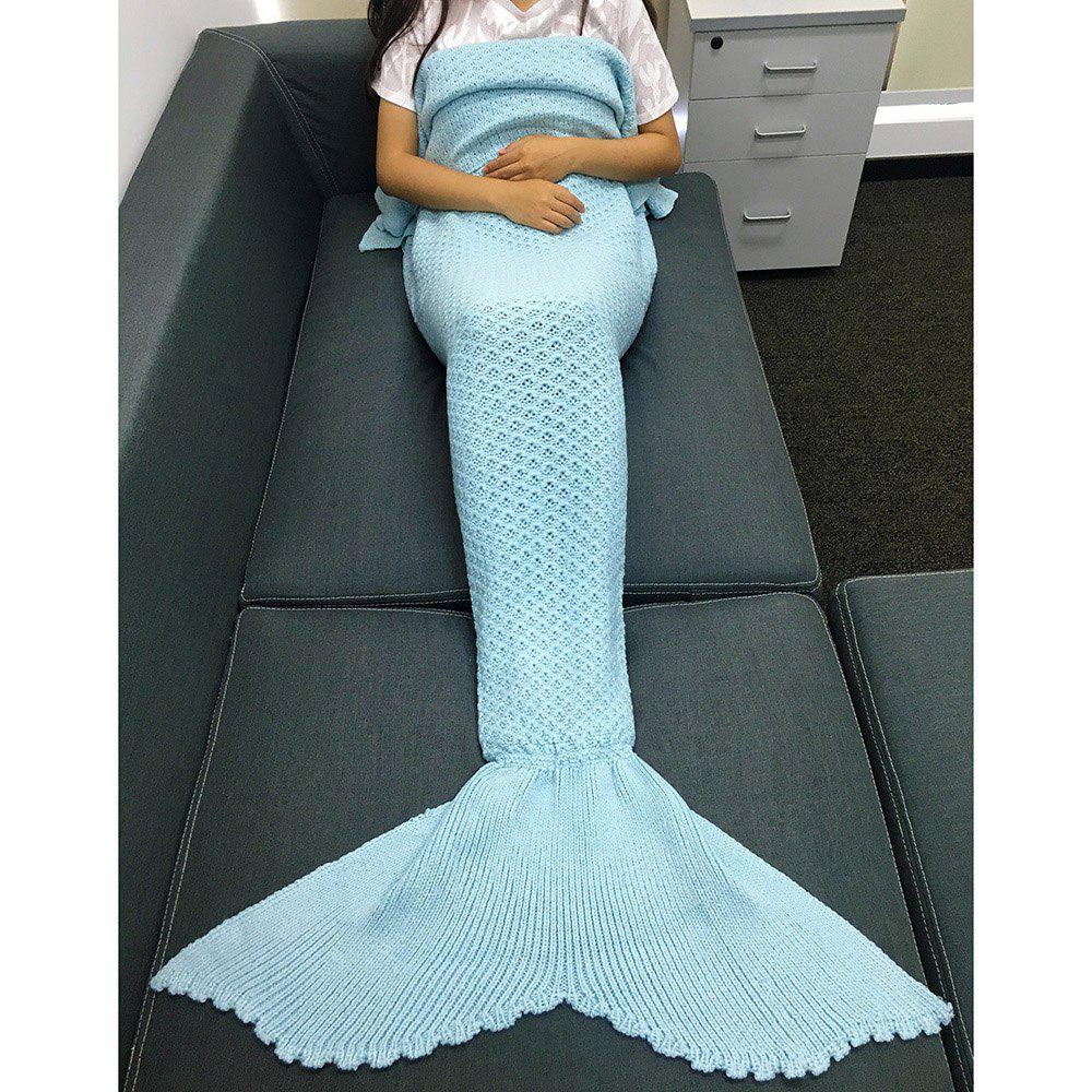 Chic Knitting Rhombus Design Sequins Mermaid Tail Blanket