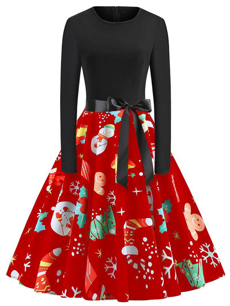 Outfits Plus Size Vintage Long Sleeves Christmas Graphic Dress