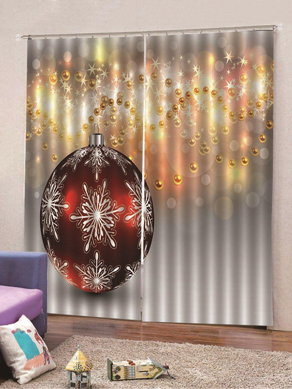 Shops Christmas Snowflakes Bauble Printed Window Curtains