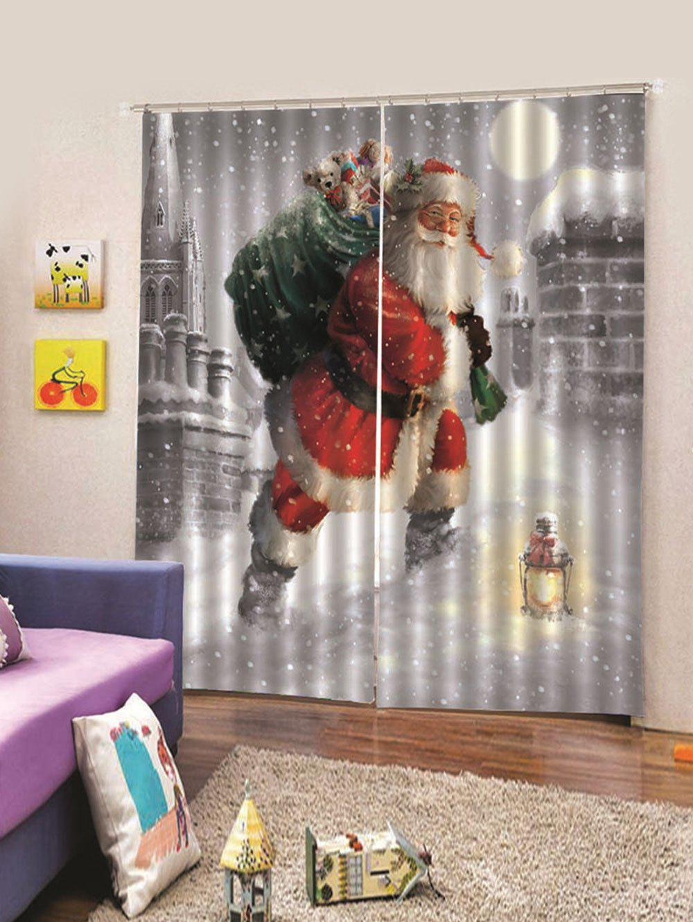 Store Snowy Taking Gifts Santa Christmas Print Window Curtains