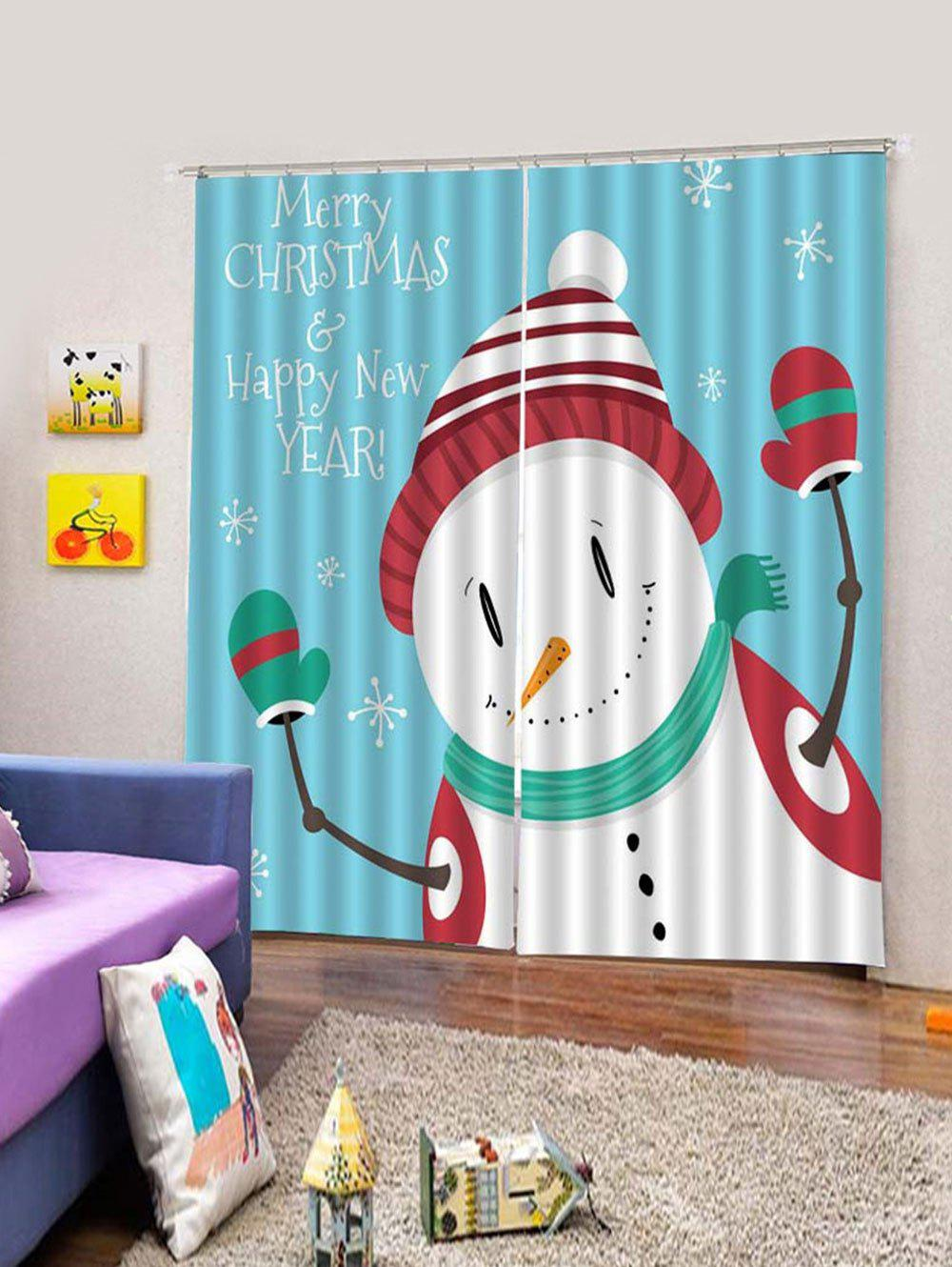 Chic Christmas Snowman Printed Window Curtains