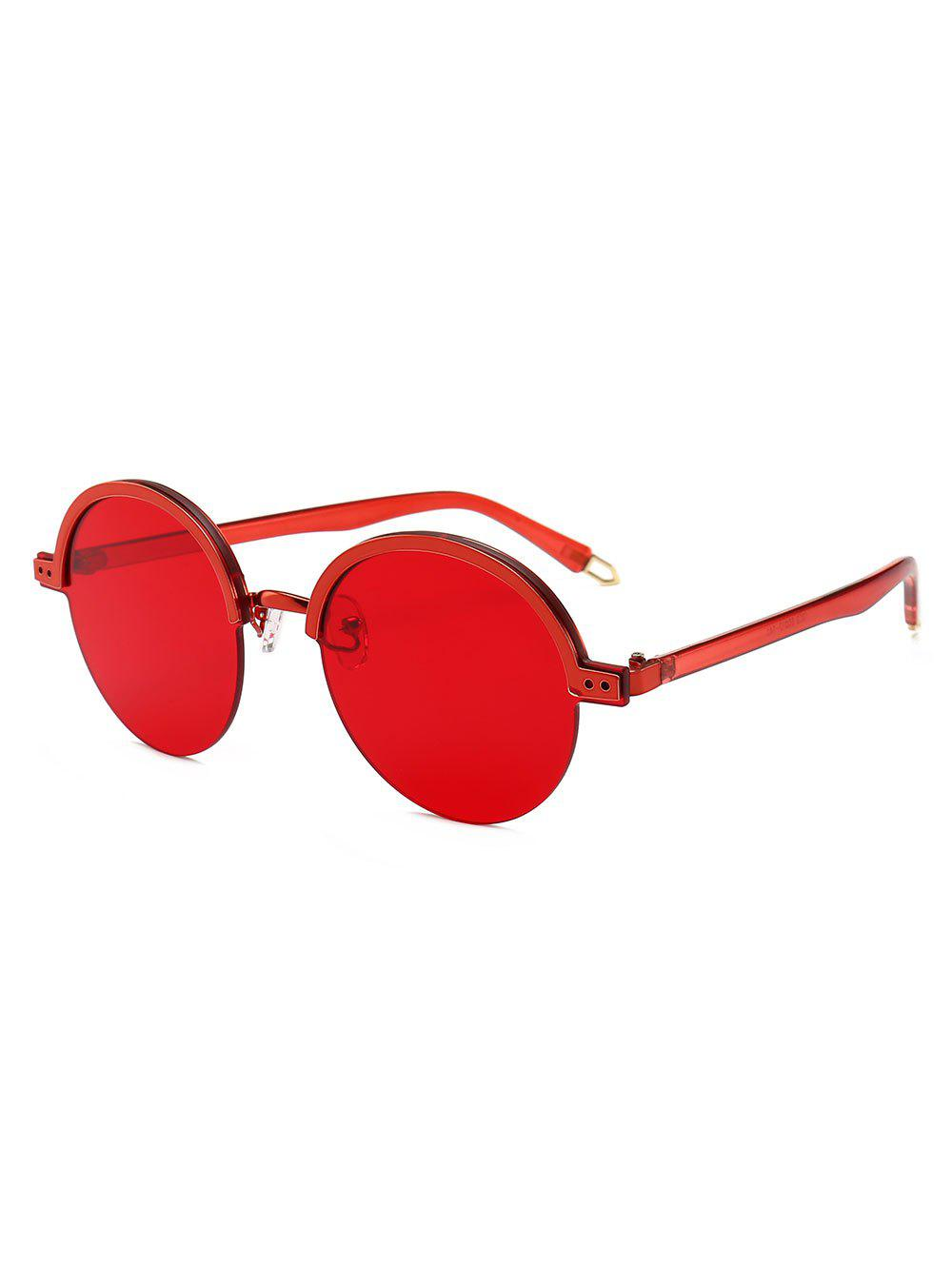 Vintage Hollow Out Leg Semi-Rimless Sunglasses, Red
