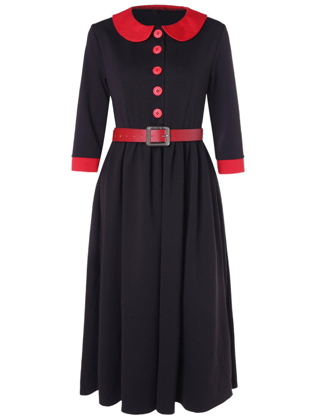 Fashion Half Button Peter Pan Collar Belted Dress