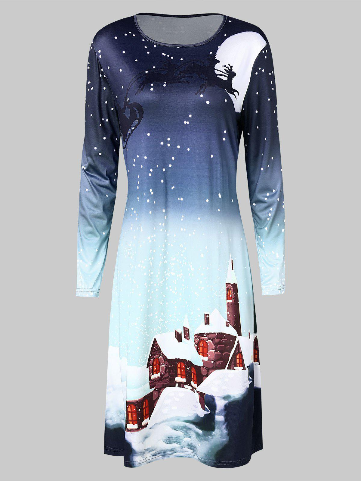 Discount Christmas Moonlight Print Swing Dress
