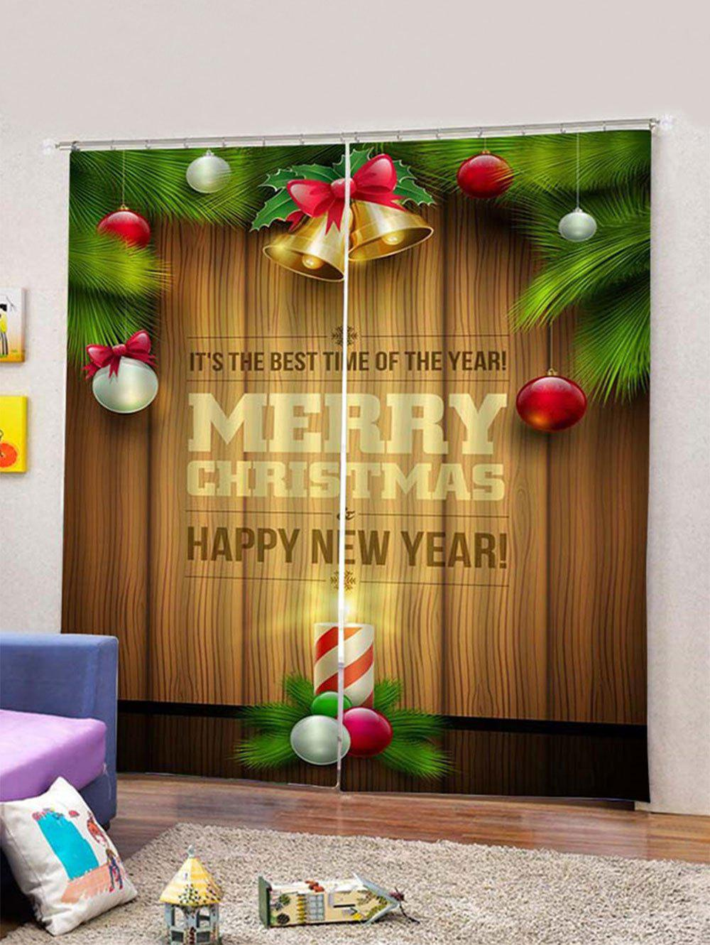 Trendy Baubles Letters Christmas Print Window Curtains