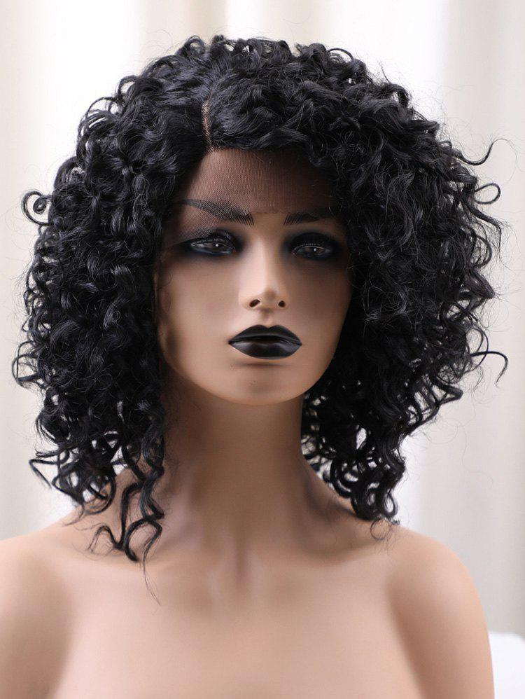 Affordable Short Side Bang Fluffy Kinky Curly Synthetic Lace Front Wig