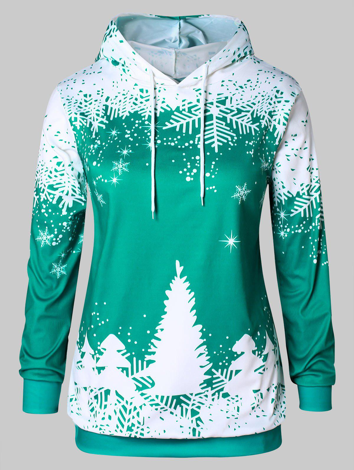 Store Plus Size Christmas Tree Print Graphic Hoodie