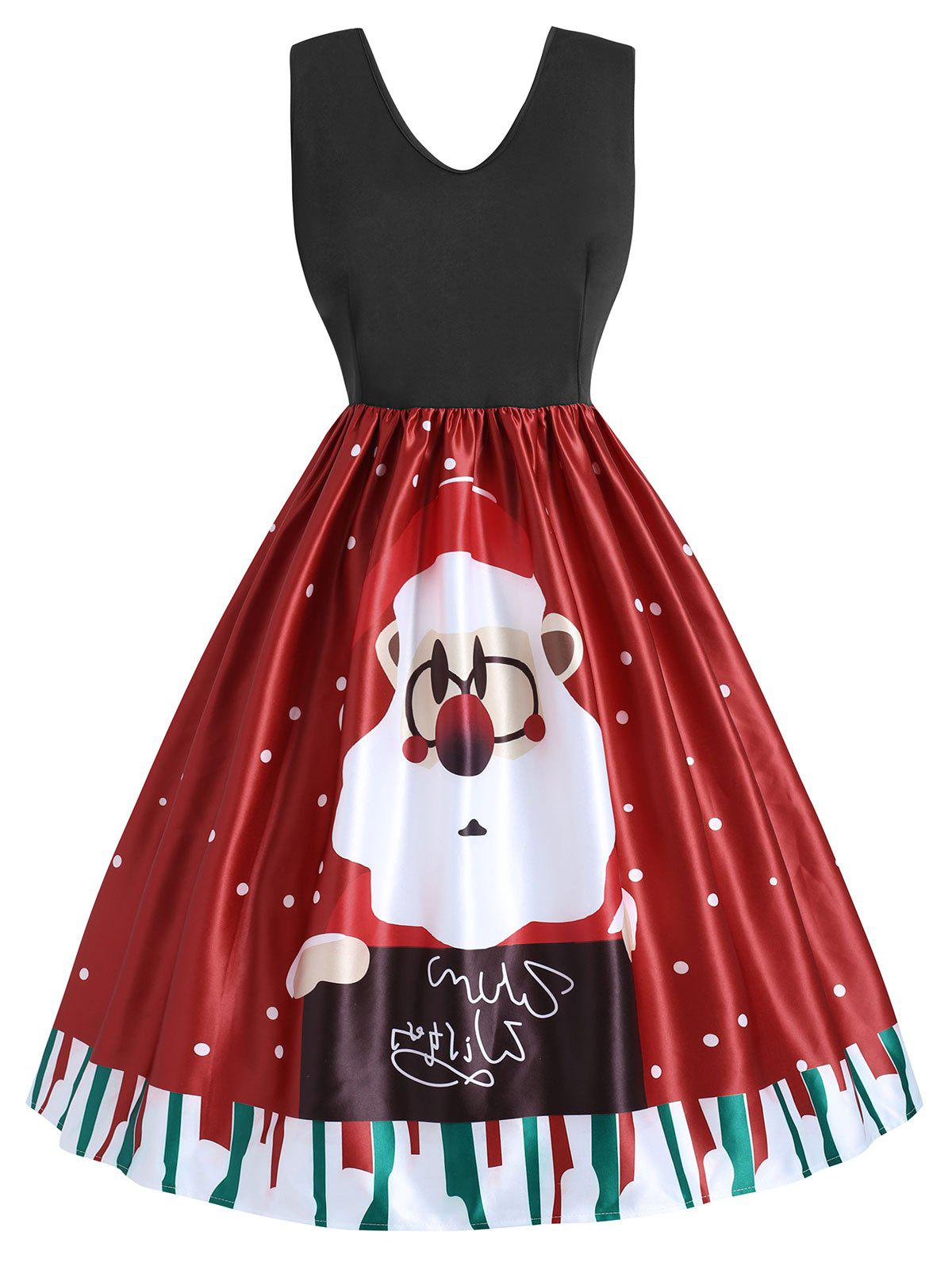 7954e09d4eaf 44% OFF] Plus Size Christmas Santa Claus Flare Dress | Rosegal