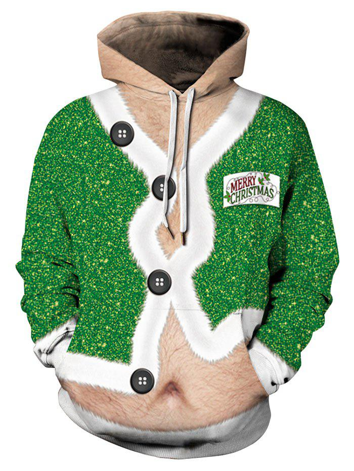 New Christmas Coat Print Drawstring Hoodie